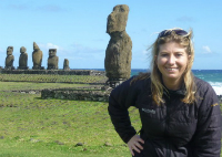 Angela Saurine on Easter Island.