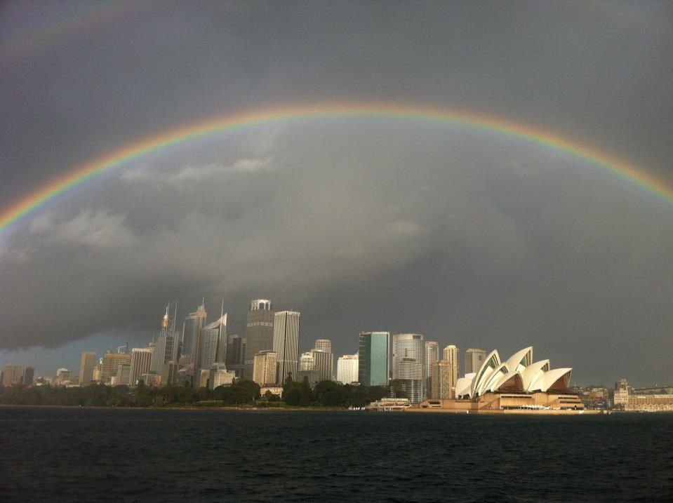 A rainbow over Sydney Harbour. Picture: Angela Saurine
